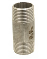 316L stainless steel standard nipple - Lenght 100 mm