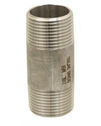 Mamelon tube standard en acier inoxydable 316L - Longueur 100 mm