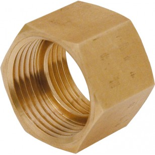 Hexagonal brass coupling - Female / Female with gasket stop