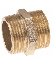 Equal hexagonal brass nipple - Male / Male