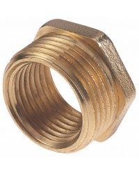 Hexagonal reduced brass bushing - M/F reduced