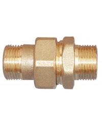 Union laiton Mâle / Mâle - 3 pièces - Étanchéité sphéro-conique + Joint torique