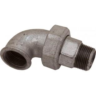 Coude union Mâle / Femelle -3 Pièces - Joint conique - Fonte galvanisée