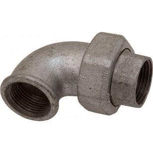 Coude union Femelle / Femelle - 3 Pièces - Joint conique - Fonte galvanisée