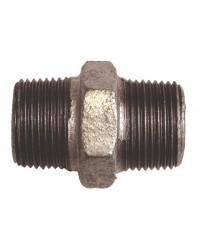 Hexagonal equal nipple - M/M - Galvanized Cast Iron