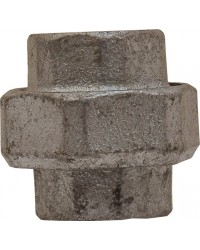 Union Femelle / Femelle - 3 pièces - Joint plat - Fonte galvanisée