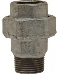 Union Mâle / Femelle - 3 pièces - Joint plat - Fonte galvanisée