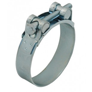 Zinc-plated steel clamp with bolt