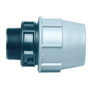 Male threaded polypropylene adaptor for PE pipe
