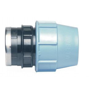Female threaded polypropylene adaptor for PE pipe with reinforced stainless steel cap