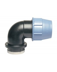 Polypropylene female elbow 90° for PE pipe with reinforced stainless steel cap