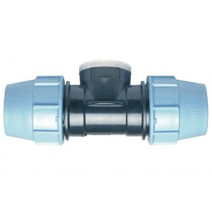Female Polypropylene tee for PE pipe with reinforced stainless steel cap