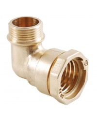 Male 90° brass elbow - PE / male
