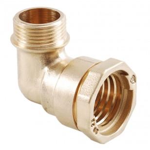 Male 90° brass elbow - PE / male
