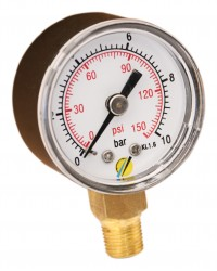 Pressure gauge - ABS casing - Class 1.6 - Conical brass Vertical fitting 1/8G - Ø 40