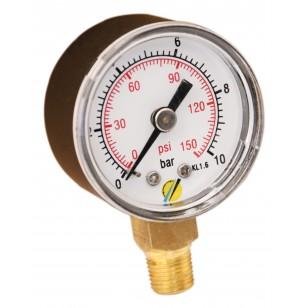Pressure gauge - ABS casing - Class 1.6 - Conical brass Vertical fitting 1/8G - Ø 40