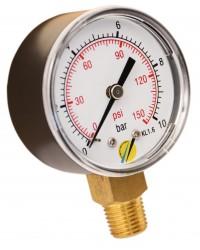 Manomètre sec - Boitier ABS - Classe 1.6 - Raccord vertical 1/4G conique laiton - Ø 50