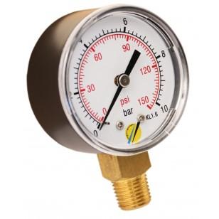 Pressure gauge - ABS casing - Class 1.6 - Conical brass vertical fitting 1/4G - Ø 50