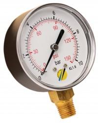 Manomètre sec - Boitier ABS - Classe 1.6 - Raccord vertical 1/4G conique laiton - Ø 63