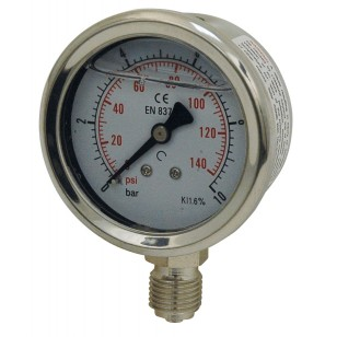 Pressure gauge - Stainless steel casing - Class 1.6 - Brass vertical fitting 1/4''G - Ø 50 - Glycerine