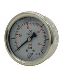 Pressure gauge - Stainless steel casing - Glycerine - Class 1.6 - Brass axial fitting 1/4''G - Ø 50 - Glycerine