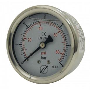 Manomètre industriel - Boitier inox - Classe 1.6 - Raccord axial 1/4G Laiton - Ø 50 - Glycérine