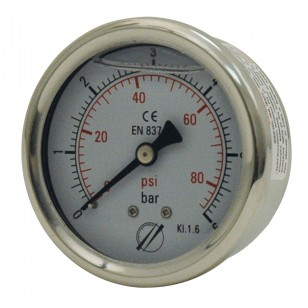 Pressure gauge - Stainless steel casing - Glycerine - Class 1.6 - Brass axial fitting 1/4''G - Ø 50 - Glycerine