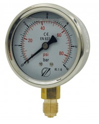 Pressure gauge - Stainless steel casing - Glycerine - Class 1.6 - Brass bottom connection 1/4''G - Ø 63