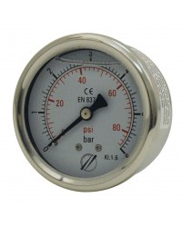 Manomètre industriel - Boitier inox - Classe 1.6 - Raccord axial 1/4G Laiton - Ø 63 - Glycérine