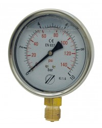 Manomètre industriel - Boitier inox - Classe 1.6 - Raccord radial 1/2G Laiton - Ø 100 - Glycérine