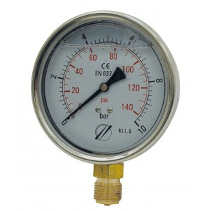 Industrial Pressure gauge - Stainless steel casing - Class 1.6 - Brass radial fitting 1/2''G - Ø 100 - Glycerine