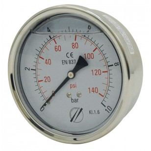 Industrial Pressure gauge - Stainless steel casing - Class 1.6 - Brass axial fitting 1/2''G - Ø 100 - Glycerine