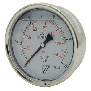 Manomètre industriel - Boitier inox - Classe 1.6 - Raccord axial 1/2G Laiton - Ø 100 - Glycérine