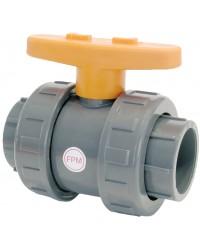 Vanne à sphère en PVC - Série industrie - Joint de sphère FPM - A coller