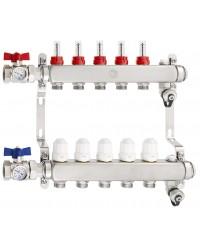 """Ensemble collecteurs inox - Entrée 1"""" - Départ mâle 3/4"""" EK - Purgeurs d'air manuel - 2 vannes droites avec thermomètre 0-80°C"""