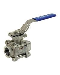 Stainless steel ball valve - 3 pieces - Full Bore - Female / Female - ISO 5211 Platinum