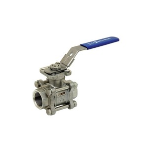 Stainless steel ball valve - 3 pieces - Full Bore - Female / Female - ISO 5211 Platinum
