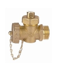 Packed plug valve - Male / Female - With PVC cap and chain