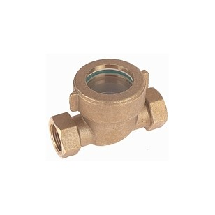 Brass sight flow indicator with PTFE mobile ball - F/F