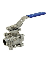 Stainless steel ball valve - 3 pieces - Full Bore - Butt weldind - ISO 5211 platinum