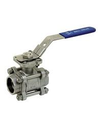 Stainless steel ball valve - 3 pieces - Full Bore - Socket welding - ISO 5211 platinum