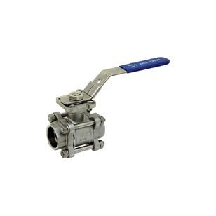 Vanne à sphère inox 3 pièces à passage intégral - Platine ISO 5211 - Socket Welding