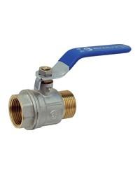 Brass ball valve - M / F - ''Etoile'' series - Standard bore - Flat blue steel handle