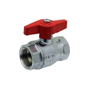 """Brass ball valve - F/F - ''Normal series"""" - Full bore - Butterfly red handle"""