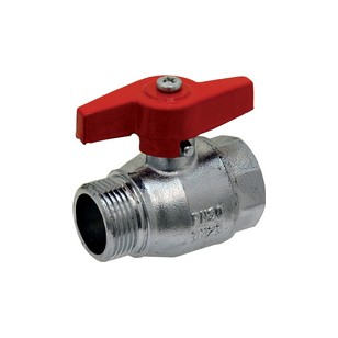 Brass ball valve - M/F - '' Normal series '' - Full bore - Butterfly red handle