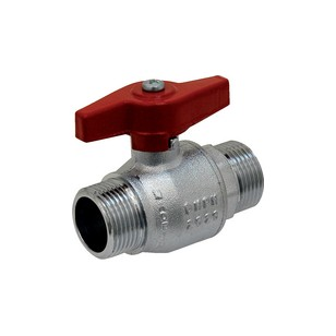 Brass ball valve - M/M - '' Normal series '' - Full bore - Butterfly red handle
