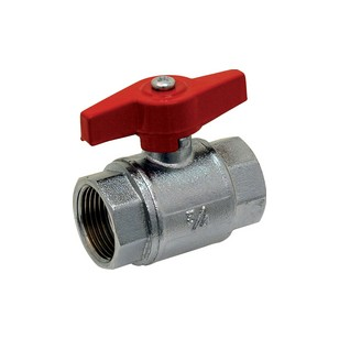 Brass ball valve - F/F - Industial series - Full bore - Butterfly red handle