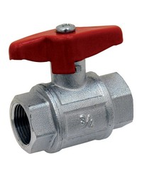 Brass ball valve - F/F - Industrial series - Full bore - Butterfly red handle
