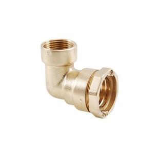 Female 90° brass elbow - PE / Female