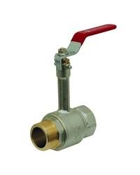 Vanne à sphère laiton M / F monobloc avec prolongateur - Poignée acier plate rouge